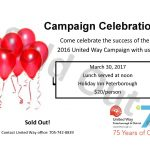 We are sold out of tickets for Campaign Celebration. Call office for details: 705-742-8839
