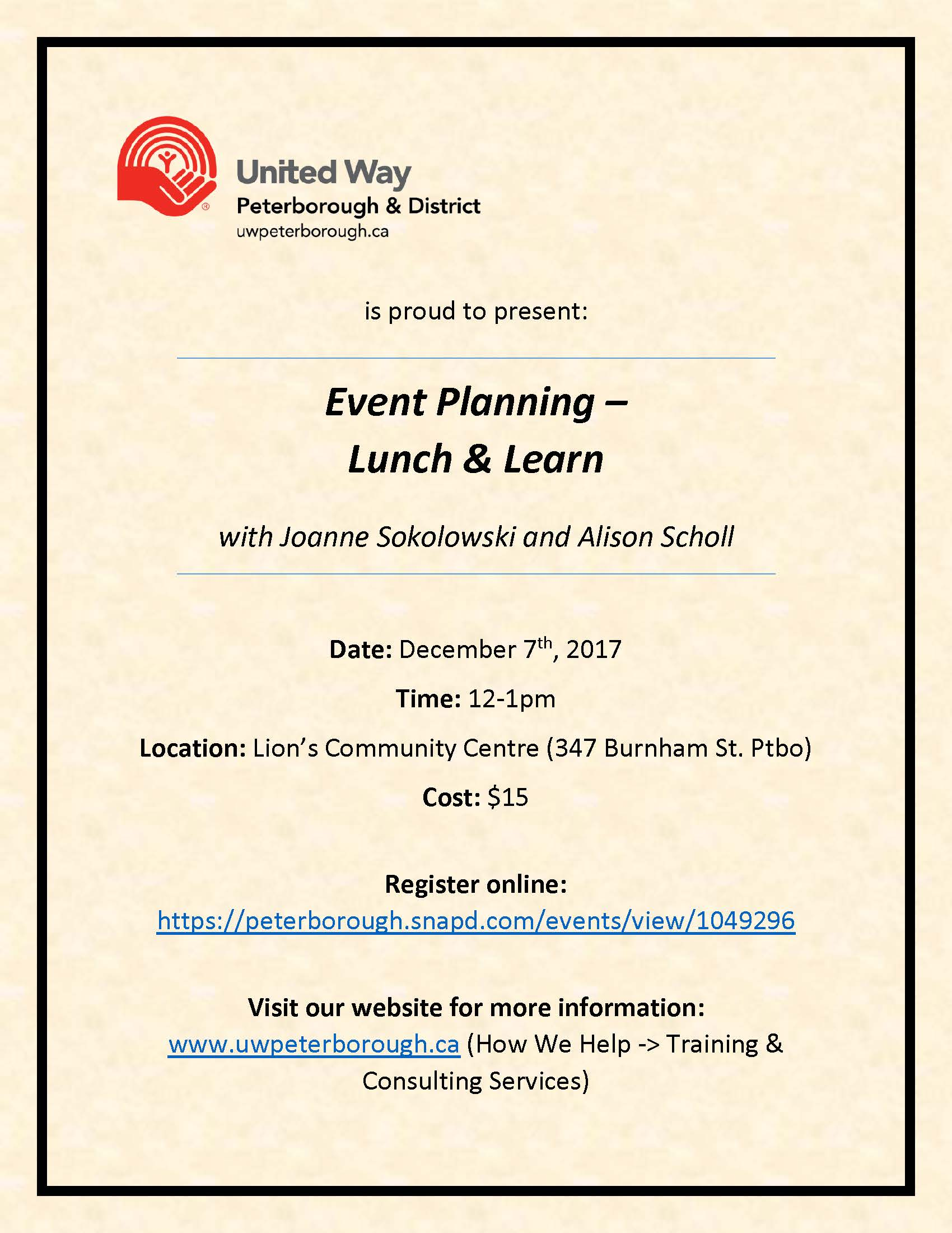 Training Event Planning Lunch Learn